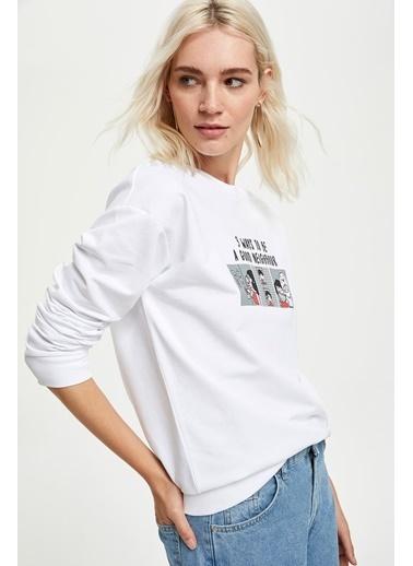 DeFacto Pop Art Baskılı Crop Sweatshirt Beyaz